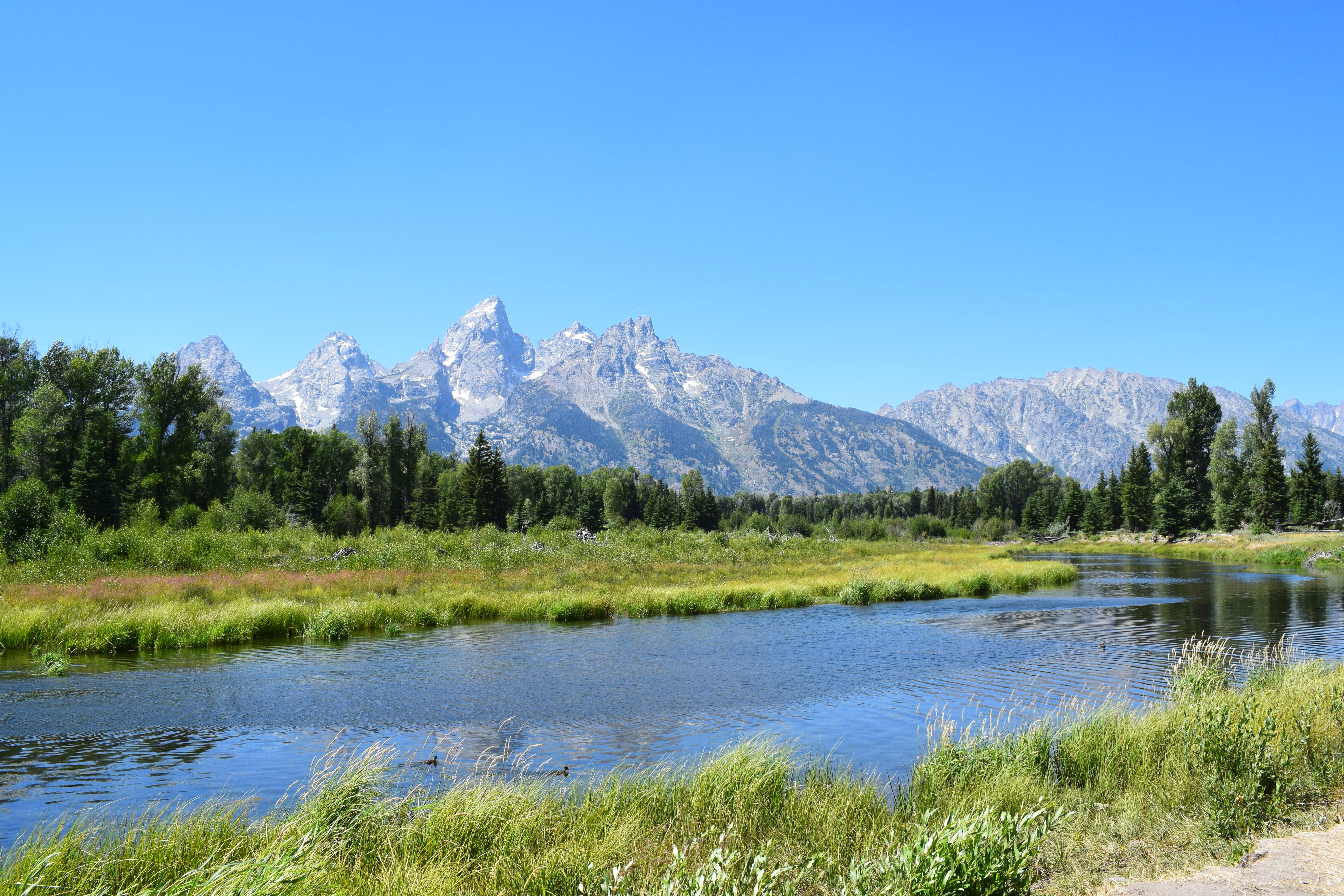 A river flowing in front of a mountain range on a clear sunny day
