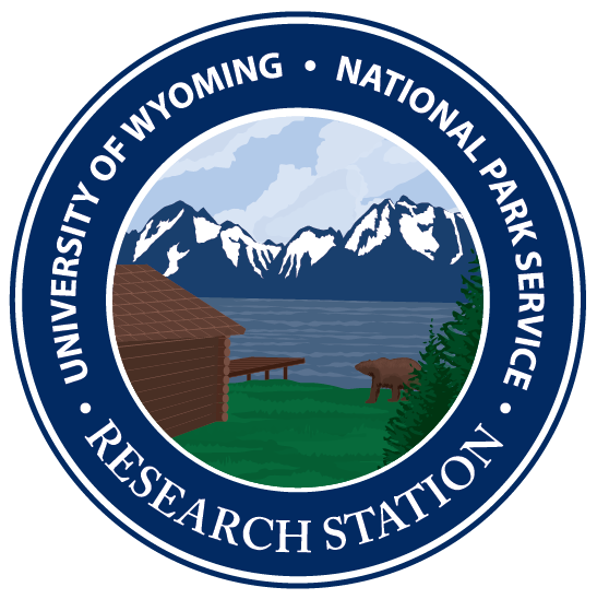 logo showing mountains, a lake, a bear, and a boat dock